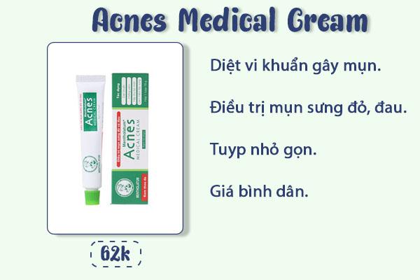 Những ưu điểm của kem trị mụn acnes medical cream.