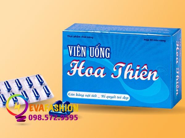 Hình ảnh hộp Viên uống Hoa Thiên mặt trước dạng vỉ