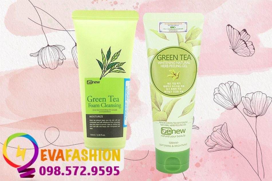 Combo Sữa Rửa Mặt Trà Xanh Benew Green Tea Foam Cleansing + Tẩy Tế Bào Chết Trà Xanh Hàn Benew Green Tea Peeling Gel