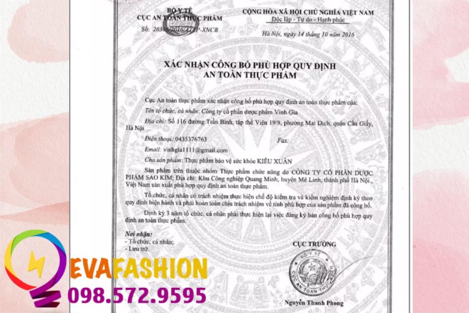 Viên uống Kiều Xuân được cấp giấy chứng nhận an toàn thực phẩm của Bộ Y Tế