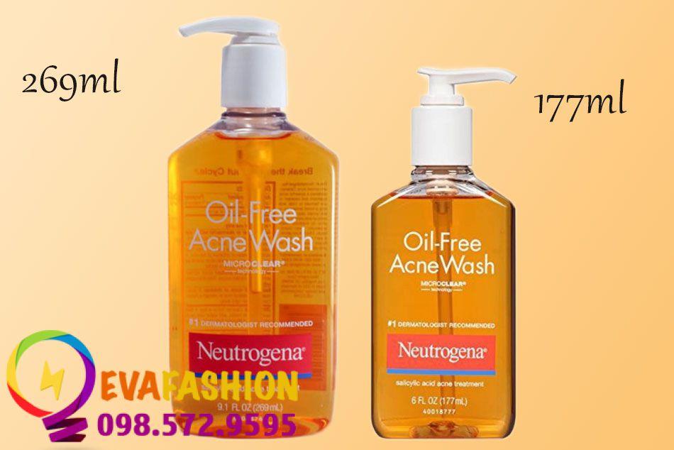 Sữa rửa mặt Neutrogena Oil-Free Acne Wash loại 177ml và 269ml