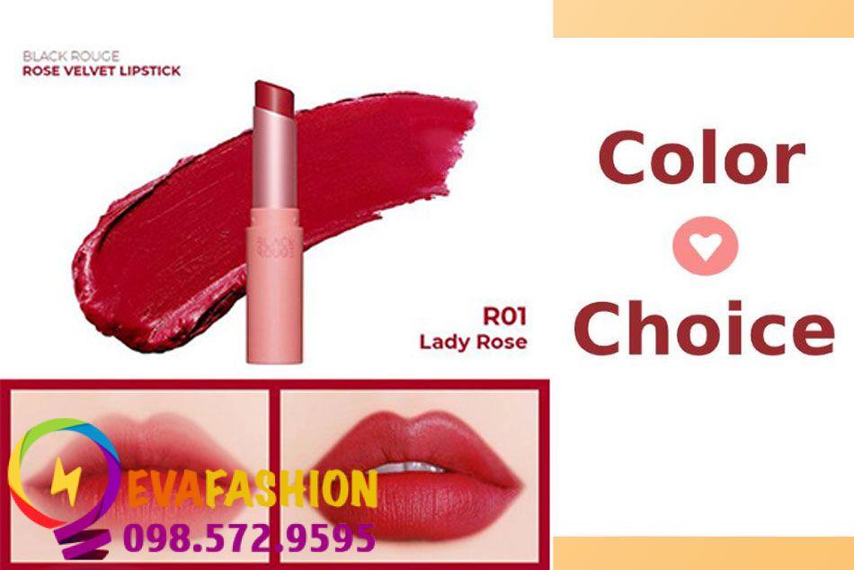 Black Rouge Rose Velvet Lipstick R01