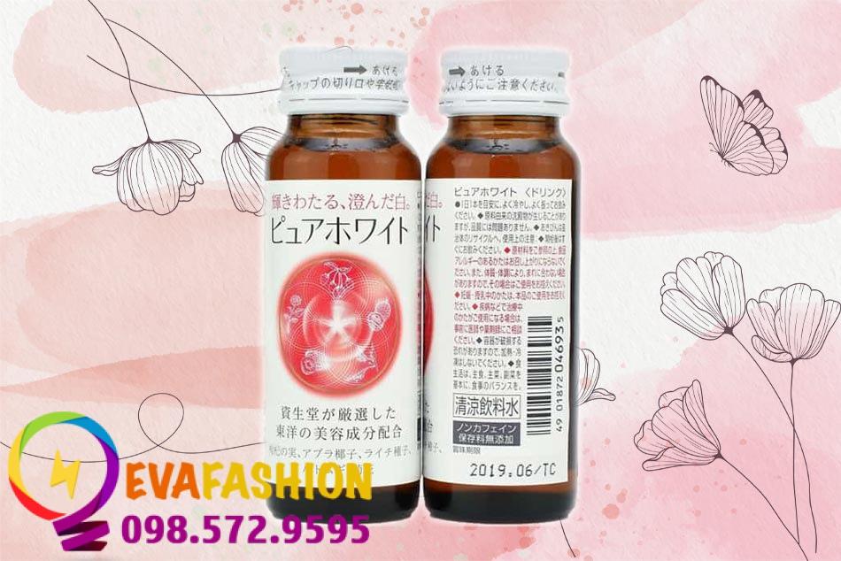 Mẫu chai nước uống trắng da Shiseido Pure White