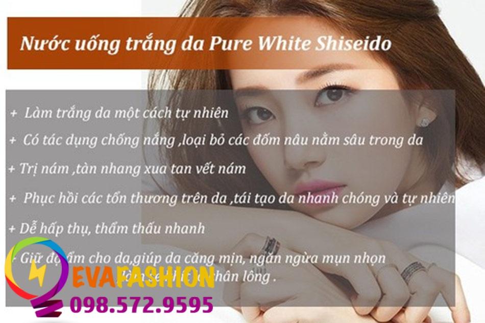 Công dụng vượt trội của nước uống trắng da Shiseido Pure White