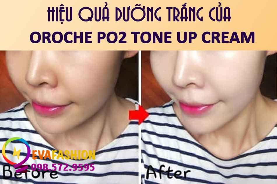 Hiệu quả dưỡng trắng của Oroche Po2 Tone Up Cream