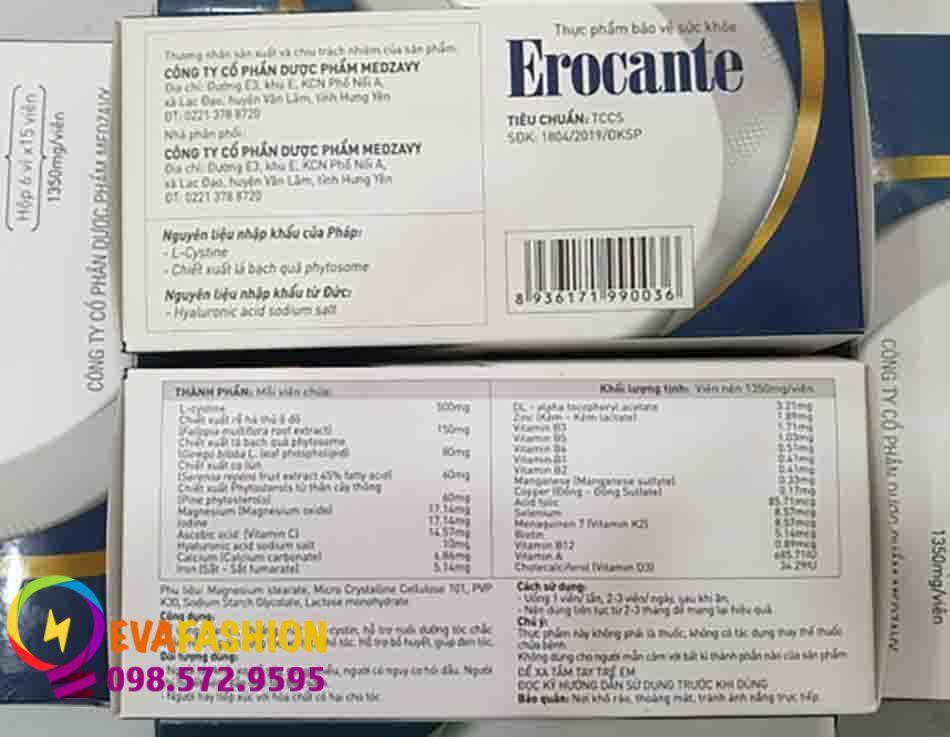 phân biệt viên uống Erocante thật giả