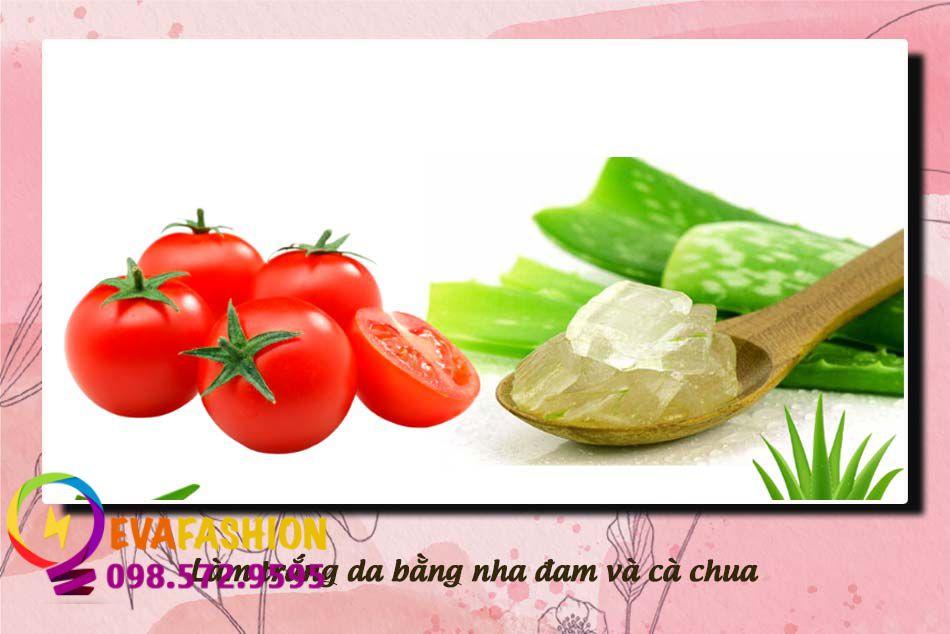 Cách làm trắng da mặt bằng nha đam và cà chua