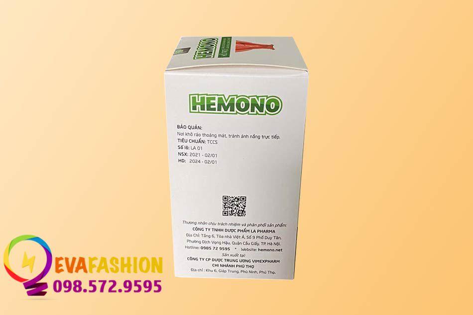 Hình ảnh mặt bên của hộp Viên uống Hemono