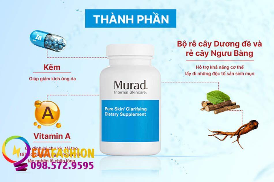 Viên uống trị mụn Murad gồm những thành phần gì?