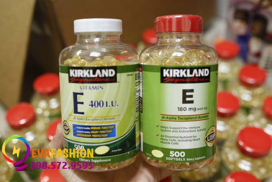 Vitamin E Kirkland nắp đỏ và nắp trắng